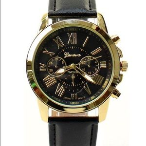 Fashion Faux Leather Chronograph Watch